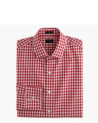 Ludlow cotton linen shirt in classic red gingham medium 414705