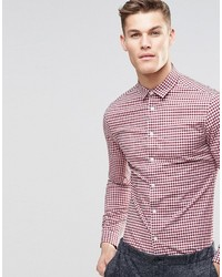 Skinny gingham check shirt in red medium 755543