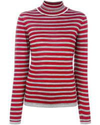Red Horizontal Striped Turtleneck