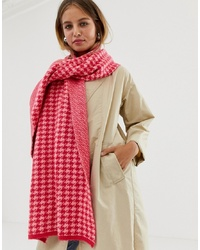 New Look Dogtooth Scarf In Pink Pattern