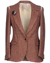 Red Houndstooth Wool Blazer