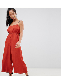 Asos Petite Asos Design Petite Pinny Jumpsuit In Crinkle