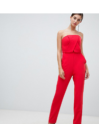 Asos Tall Asos Design Tall Structured Bandeau Jumpsuit With Peg Leg