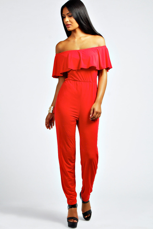 Boohoo Lacey Exaggerated Frill Shoulder Jumpsuit | Where to buy ...