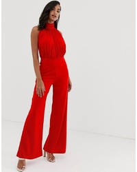 Scarlet Rocks High Neck Jersey Jumpsuit In Red