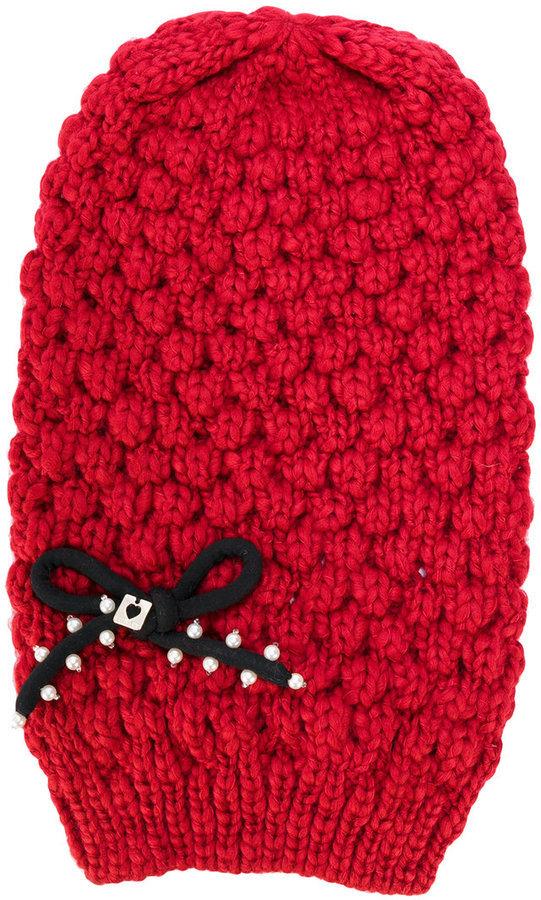 Twin-Set Chunky Knit Bow Beanie