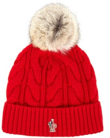 Grenoble Fur Pompom Knitted Beanie Hat. Red Knit Beanie by Moncler 55bdc41697e7