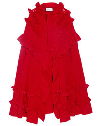 Gucci Ruffled Pointelle Knit Wool Cape Red