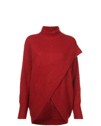 Sally Lapointe Draped Rib Knit Turtleneck Sweater