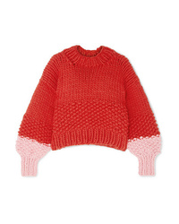 The Knitter The Zip Zap Two Tone Wool Sweater