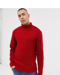 Jacamo Roll Neck Cable Knit Jumper In Red
