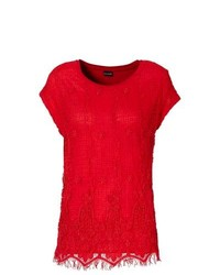 Red Lace Crew-neck T-shirt