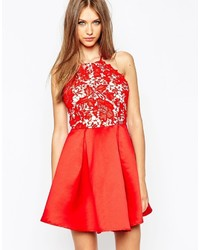 Missguided Lace Halter Neck Skater Dress