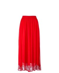Red Lace Maxi Skirt
