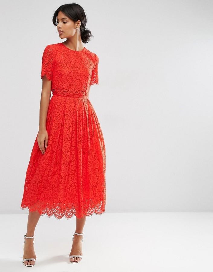 455f168cbc989 ... Asos Lace Crop Top Midi Prom Dress 86 Asos Lookastic UK