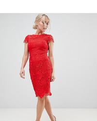Paper Dolls Petite Cap Sleeve Crochet Lace Pencil Dress In Red