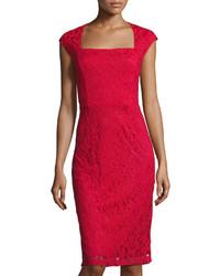 Donna Ricco Sleeveless Lace Sheath Dress Red