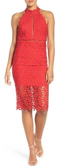 92 Bardot Gemma Halter Lace Sheath Dress