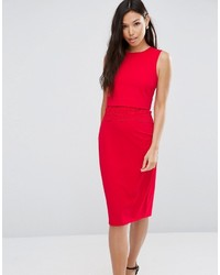 Asos Pencil Dress With Crop Top Layer And Lace Detail
