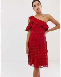 Dolly & Delicious Asymetric Lace Midi Dress