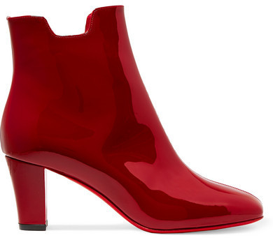 detailed look 6ca0a b8113 £716, Christian Louboutin Tiagada 70 Patent Leather Ankle Boots Claret