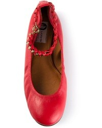 Red Leather Ballerina Shoes