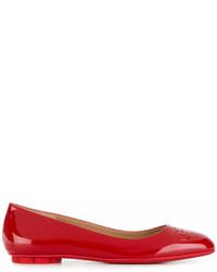 Salvatore Ferragamo Gancini Buckle Embossed Ballerina Shoes