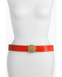 Tory Burch Robinson Reversible Leather Belt Flame Red Clay Beige Large
