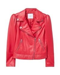 Mango Olivia Leather Jacket Red