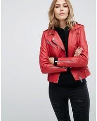 Mango Real Leather Biker Jacket