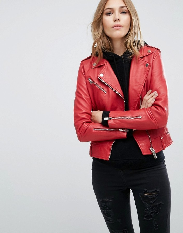 Mango Real Leather Biker Jacket 139 Asos Lookastic Uk