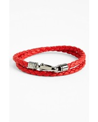 Tod's Double Wrap Braided Leather Bracelet Ruby Red