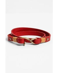 Griffin Nail Hook Leather Wrap Bracelet Red