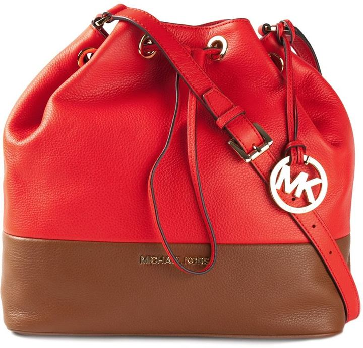 dc7c95f7da52 Michl Michl Kors Two Tone Bucket Bag. Red Leather Bucket Bag by MICHAEL ...