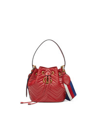 Gucci Red Gg Marmont Leather Bucket Bag