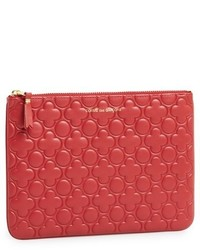Comme des Garcons Large Embossed Leather Pouch Red