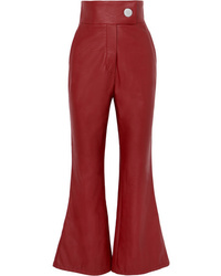 Sara Battaglia Faux Leather Flared Pants