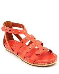 Red Leather Gladiator Sandals