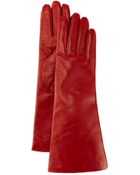 Portolano Cashmere Lined Leather Gloves Red