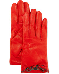 Portolano Leather Driving Gloves With Chain Bow Red