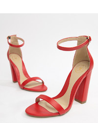 Missguided Block Heeled Barely There Sandals In Red