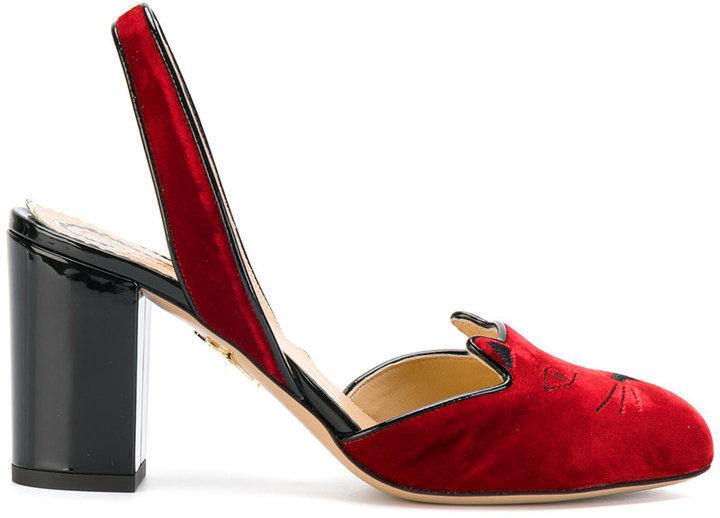 Charlotte Olympia Kitty Slingback Heels