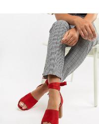 Park Lane Wide Fit Tie Leg Block Heeled Sandals