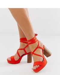 ASOS DESIGN Wide Fit Walker Platform Block Heeled Sandals