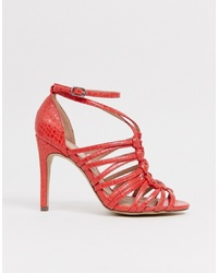 New Look Woven Ping Detail Sandal In Orange