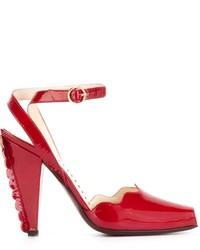 Yves Saint Laurent Vintage Scalloped Trim Heel Sandals
