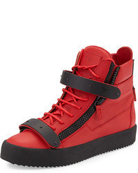 Red Leather High Top Sneakers
