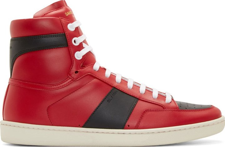 Black and Red SL/10 High-Top Sneakers Saint Laurent EwoIoFPB7X
