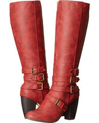 Red Leather Knee High Boots