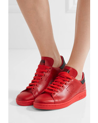 722603f9bb8e ... adidas Originals Raf Simons Stan Smith Perforated Leather Sneakers Red  ...